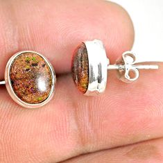 925 silver 8.20cts natural black honduran matrix opal round stud earrings r76132