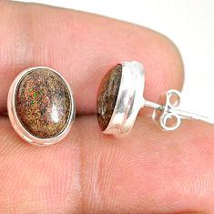 925 silver 7.97cts natural black honduran matrix opal round stud earrings r76136