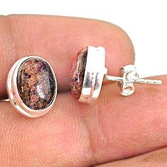 925 silver 8.10cts natural black honduran matrix opal stud earrings r76118