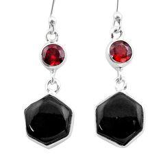 925 silver 12.39cts natural black onyx hexagon garnet dangle earrings t47997