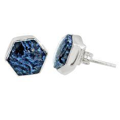 925 silver 7.17cts natural black pietersite (african) stud earrings r80255