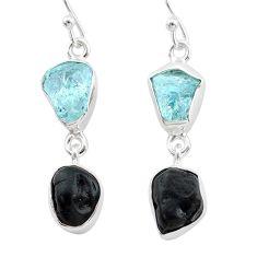 925 silver 10.76cts natural black tourmaline aquamarine raw earrings t21184