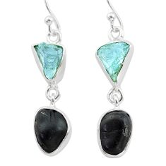 925 silver 10.76cts natural black tourmaline aquamarine raw earrings t21190