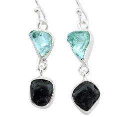 925 silver 9.86cts natural black tourmaline aquamarine raw earrings t21191