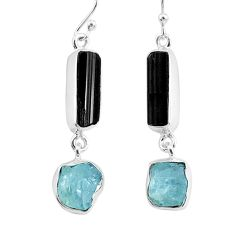 925 silver 11.64cts natural black tourmaline raw dangle earrings r93697