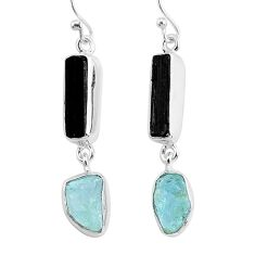 925 silver 12.60cts natural black tourmaline raw dangle earrings r93700