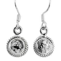 925 silver 2.50cts natural black tourmaline rutile dangle earrings r60684