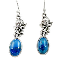Clearance Sale- 925 silver 8.48cts natural blue apatite (madagascar) angel earrings d40544