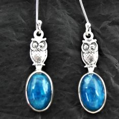 Clearance Sale- 925 silver 8.05cts natural blue apatite (madagascar) owl earrings d40552