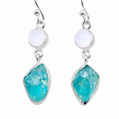 925 silver 12.07cts natural blue apatite raw moonstone dangle earrings t38236