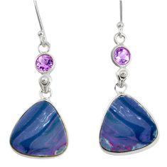 925 silver 13.64cts natural blue doublet opal australian dangle earrings d40446