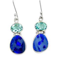925 silver 9.86cts natural blue doublet opal australian dangle earrings d40457