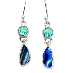 925 silver 7.17cts natural blue doublet opal australian dangle earrings d40460