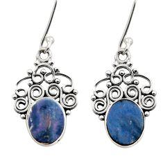 925 silver 6.19cts natural blue doublet opal australian dangle earrings d40820