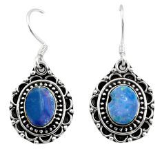 925 silver 5.63cts natural blue doublet opal australian dangle earrings d45748