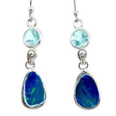 925 silver 8.01cts natural blue doublet opal australian dangle earrings d47592