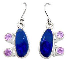 925 silver 9.04cts natural blue doublet opal australian dangle earrings r19724