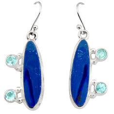 925 silver 12.04cts natural blue doublet opal australian dangle earrings r19727