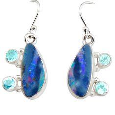 925 silver 9.70cts natural blue doublet opal australian dangle earrings r19730