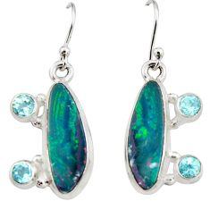 925 silver 10.33cts natural blue doublet opal australian dangle earrings r19734