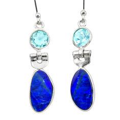 925 silver 7.51cts natural blue doublet opal australian dangle earrings r49964