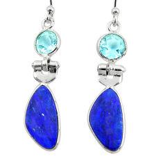 925 silver 7.46cts natural blue doublet opal australian dangle earrings r49975