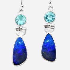 925 silver 8.48cts natural blue doublet opal australian dangle earrings r49979
