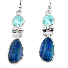925 silver 7.36cts natural blue doublet opal australian dangle earrings r49999