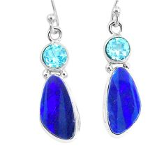 925 silver 7.39cts natural blue doublet opal australian dangle earrings r72684