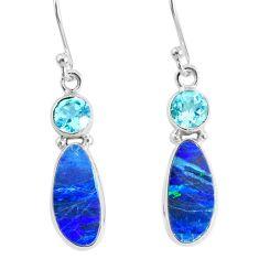 925 silver 7.64cts natural blue doublet opal australian dangle earrings r76550