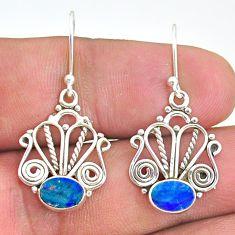925 silver 2.78cts natural blue doublet opal australian dangle earrings t32894