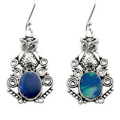 925 silver 6.54cts natural blue doublet opal australian owl earrings d40764