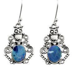 Clearance Sale- 925 silver 6.02cts natural blue doublet opal australian owl earrings d40766