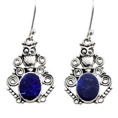 Clearance Sale- 925 silver 6.03cts natural blue doublet opal australian owl earrings d40839