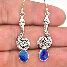 925 silver 2.61cts natural blue doublet opal australian snake earrings t32927