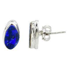 925 silver 5.22cts natural blue doublet opal australian stud earrings r39507