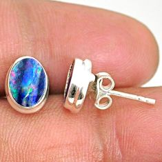 925 silver 3.74cts natural blue doublet opal australian stud earrings r84831