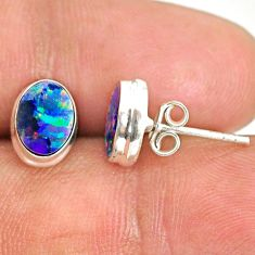 925 silver 3.41cts natural blue doublet opal australian stud earrings r84838