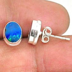 925 silver 3.39cts natural blue doublet opal australian stud earrings r84850