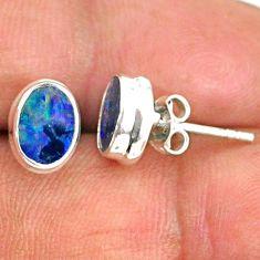 925 silver 2.75cts natural blue doublet opal australian stud earrings r84853