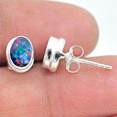 925 silver 1.92cts natural blue doublet opal australian stud earrings t19731