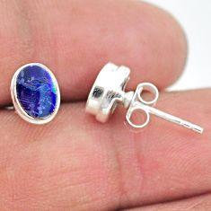 925 silver 1.89cts natural blue doublet opal australian stud earrings t19734