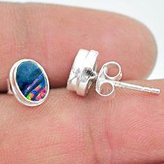925 silver 2.03cts natural blue doublet opal australian stud earrings t19737
