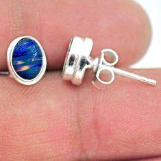 925 silver 1.86cts natural blue doublet opal australian stud earrings t19740