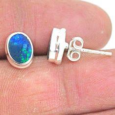 925 silver 2.74cts natural blue doublet opal australian stud earrings t3484