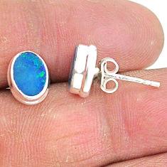 925 silver 2.92cts natural blue doublet opal australian stud earrings t3487