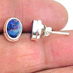 925 silver 2.70cts natural blue doublet opal australian stud earrings t3499