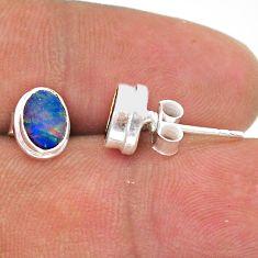925 silver 2.29cts natural blue doublet opal australian stud earrings t39649