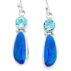 925 silver 8.09cts natural blue doublet opal australian topaz earrings r72688