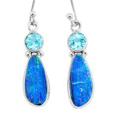 925 silver 8.09cts natural blue doublet opal australian topaz earrings r72696